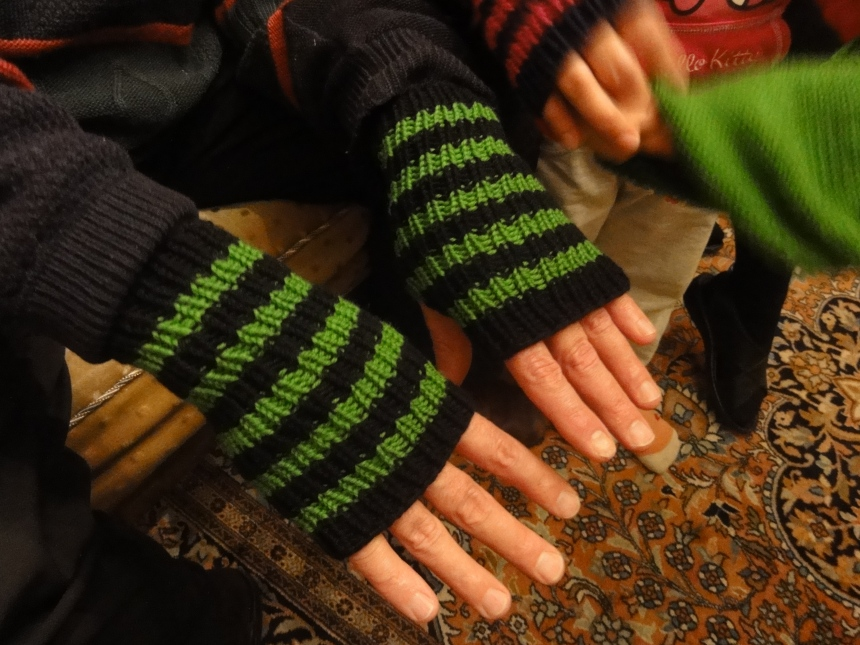 Striped Handwarmers