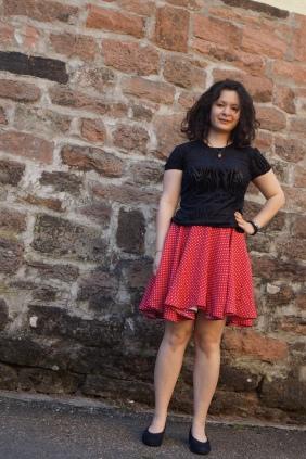May 19th: Red polka dot skirt, velvet tee
